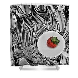 Swirled Flatware And Strawberry Shower Curtain