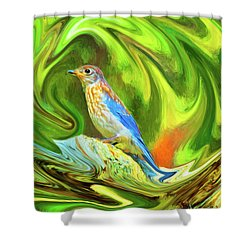 Swirling Bluebird Abstract Shower Curtain