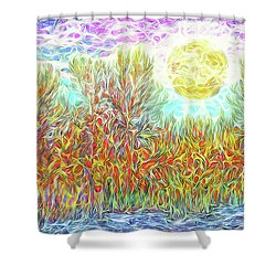 Shower Curtain featuring the digital art Swirling Brilliant Trees - Boulder County Colorado by Joel Bruce Wallach