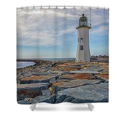 Swirling Clouds At Scituate Lighthouse Shower Curtain