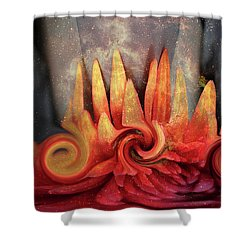 Shower Curtain featuring the digital art Swirling World In Space by Linda Sannuti