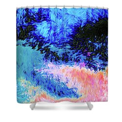 Swirly Abstract Landscape Shower Curtain