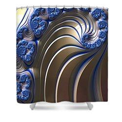 Swirly Blue Fractal Art Shower Curtain by Bonnie Bruno