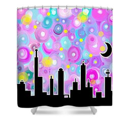 Shower Curtain featuring the painting Swirly Metropolis by Shawna Rowe