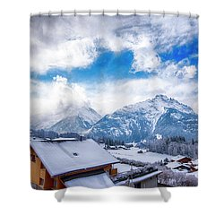 Swiss Alps Shower Curtain by Pravine Chester
