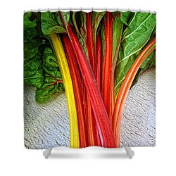 Swiss Chard Shower Curtain by Dee Flouton