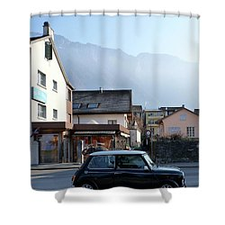 Swiss Mini Shower Curtain by Christin Brodie
