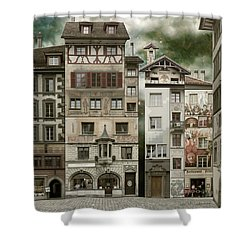 Swiss Reconstruction Shower Curtain by Joan Ladendorf