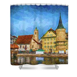 Swiss Town Shower Curtain by Pravine Chester