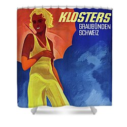 Switzerland Graubuenden Vintage Poster Restored Shower Curtain by Carsten Reisinger