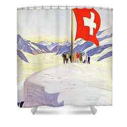 Switzerland Jungfrau Railway Vintage Poster Shower Curtain by Carsten Reisinger