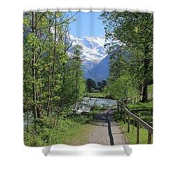 Switzerland, Lauterbrunnen Valley In Spring Shower Curtain