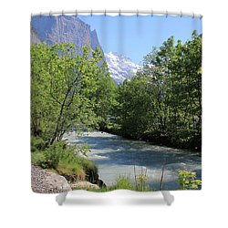 Switzerland Valley With Alps And River In Spring Shower Curtain