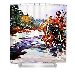 Snowbound Hunters Shower Curtain by Al Brown