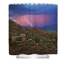 Shower Curtain featuring the photograph Sycamore Canyon Lightning With Little Daisy by Ron Chilston