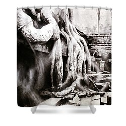 Shower Curtain featuring the painting Sycamore Tree Overgrowing Ruins- Cambodia by Ryan Fox