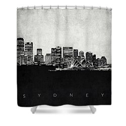 Sydney City Skyline With Opera House Shower Curtain by World Art Prints And Designs