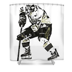 Sydney Crosby Pittsburgh Penguins Pixel Art3 Shower Curtain by Joe Hamilton