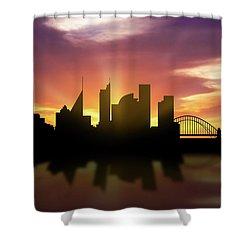 Sydney Skyline Sunset Ausy22 Shower Curtain by Aged Pixel