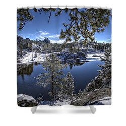 Sylvan Lake Shower Curtain by Fiskr Larsen