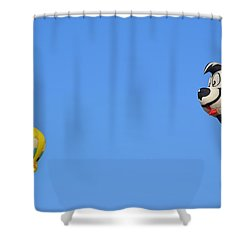 Shower Curtain featuring the photograph Sylvester And Tweety by AJ Schibig