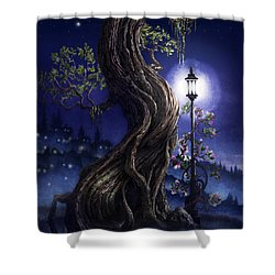 Shower Curtain featuring the painting Sylvia And Her Lamp At Dusk by Curtiss Shaffer