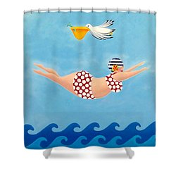 Sylvia Diving II Shower Curtain by Stephanie Troxell