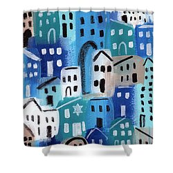Synagogue- City Stories Shower Curtain