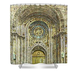 Shower Curtain featuring the mixed media Synagogue by Tony Rubino