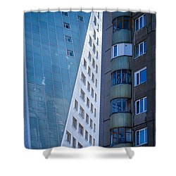 Shower Curtain featuring the photograph Synergy Between Old And New Apartments by John Williams