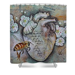 Shower Curtain featuring the mixed media Synergy by Sheri Howe