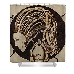 Shower Curtain featuring the pyrography Synth by Jeff DOttavio