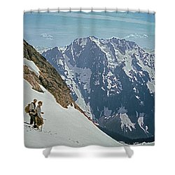 T-04402 Fred Beckey And Joe Hieb After First Ascent Forbidden Peak Shower Curtain