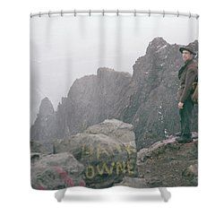 T-04701 Fred Beckey On Mt. Si 1958  Shower Curtain