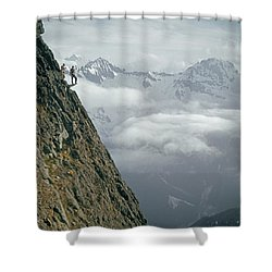 T-404101 Climbers On Sleese Mountain Shower Curtain