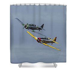 Shower Curtain featuring the photograph T-6 Trainers by Elvira Butler