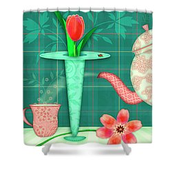 T Is For Two Tulips With Tea Shower Curtain