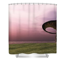 T-rex At Sunrise Shower Curtain by Corey Ford