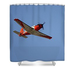 T34 Mentor Trainer Flying Shower Curtain