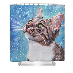 Shower Curtain featuring the painting Tabby Cat In The Winter by Lee Ann Shepard