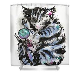 Tabby Dreams Shower Curtain by Zaira Dzhaubaeva