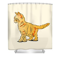 Shower Curtain featuring the digital art Tabby Kitten by MM Anderson