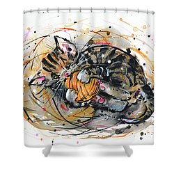 Shower Curtain featuring the painting Tabby Kitten Playing With Yarn Clew  by Zaira Dzhaubaeva