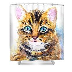 Tabby Kitten Watercolor Shower Curtain