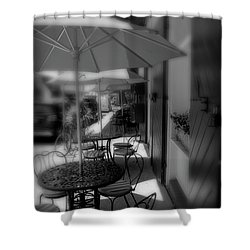 Table At New Orleans' French Market In Black And White Shower Curtain