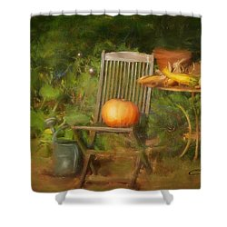 Table For One Shower Curtain by Colleen Taylor