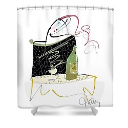 Shower Curtain featuring the mixed media Table For One by Larry Talley