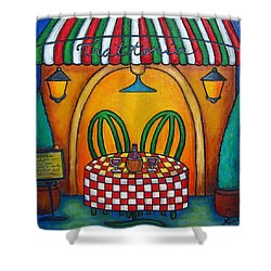 Table For Two At The Trattoria Shower Curtain by Lisa  Lorenz
