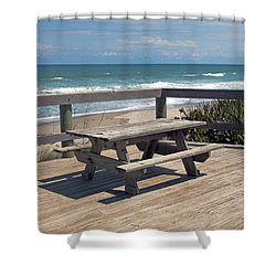 Table For You In Melbourne Beach Florida Shower Curtain by Allan  Hughes