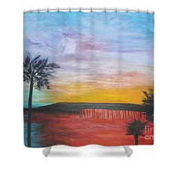 Table On The Beach From The Water Series Shower Curtain